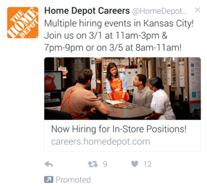 home depot twitter mobile ad example