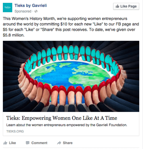 tieks facebook desktop ad example