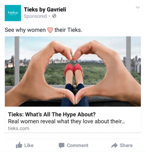 tieks facebook mobile ad example
