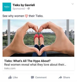 tieks facebook mobile ad example