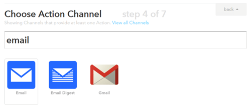 choose the action channel for your ifttt trigger