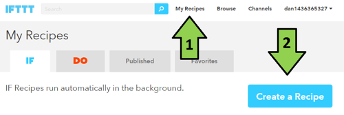 create recipe with free ifttt account