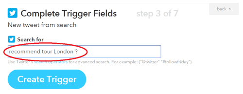 search query entered in ifttt trigger field