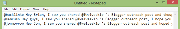 tweet text in notepad