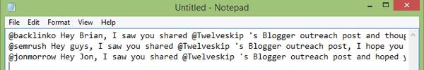 tweet text in notepad