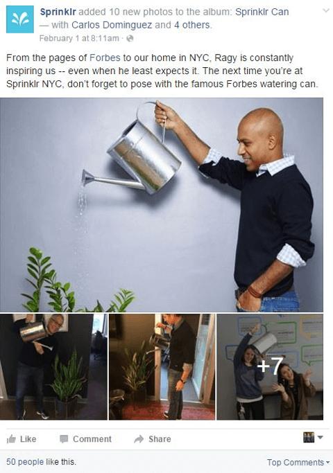 sprinklr shares a story on facebook