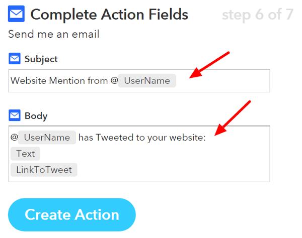 ifttt complete action fields