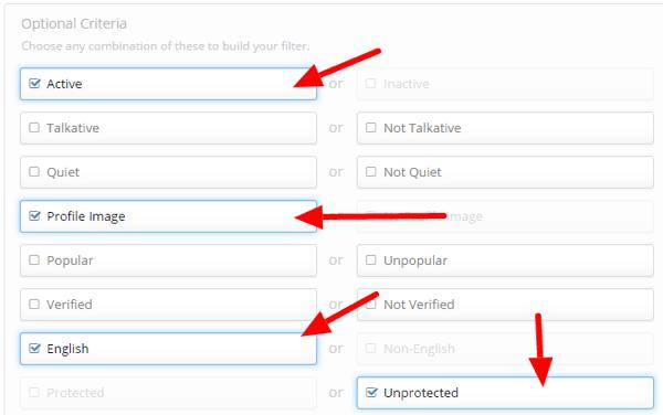 manageflitter optional criteria