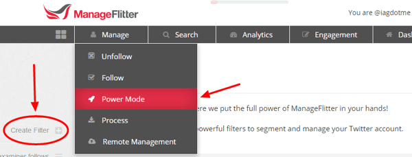 manageflitter power mode