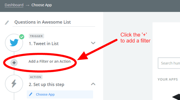 zapier add filter button