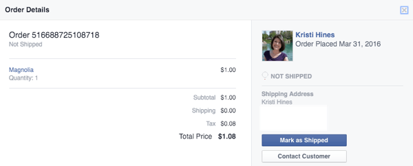 mark facebook shop order as shipped