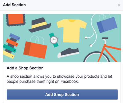 facebook add shop section button