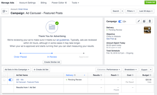 facebook carousel ad in ads manager