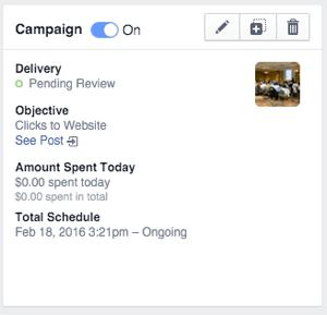 facebook carousel ad campaign status box