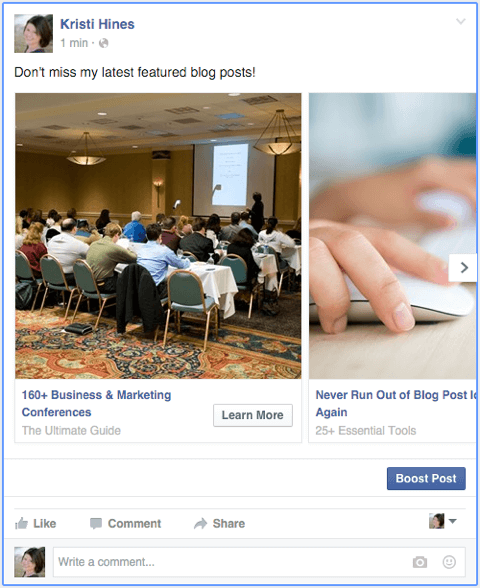 facebook carousel ad as a page post