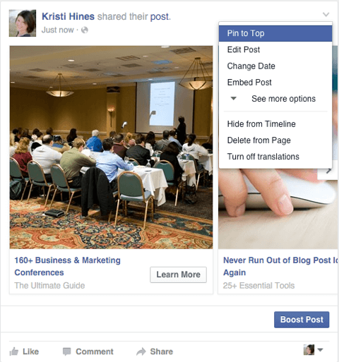 facebook carousel ad shared as a page post with pin feature