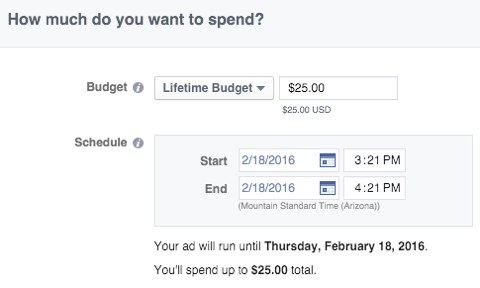 facebook ad budget feature