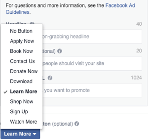 facebook carousel ad image call to action button selection