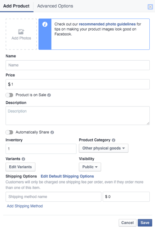 facebook shop product details