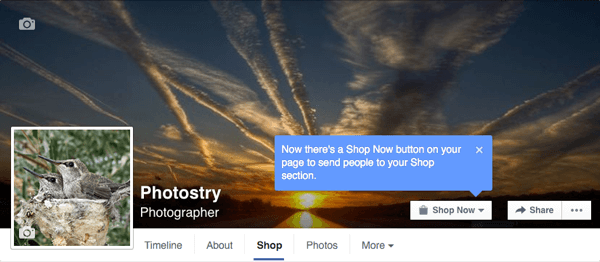 facebook call to action button changes to shop now button