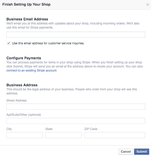 configure facebook shop business and payment details