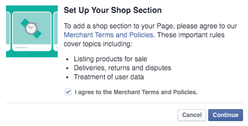 agree to facebook shop merchant terms and policies and continue