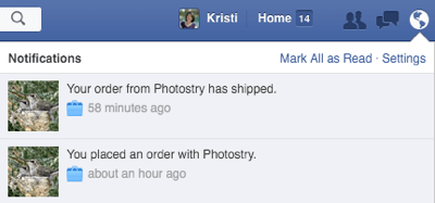 buyer facebook notification about order update