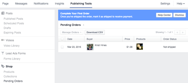 list of pending orders in facebook shop