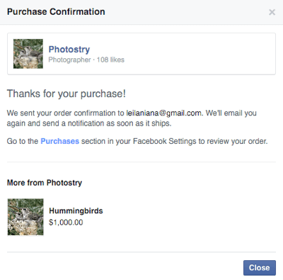 facebook shop customer purchase confirmation