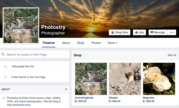 first shop products appear above facebook timeline