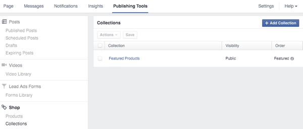 view collections of organized products in facebook shop