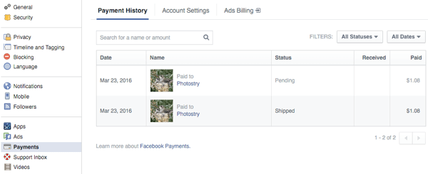customers view orders in payments section of facebook settings
