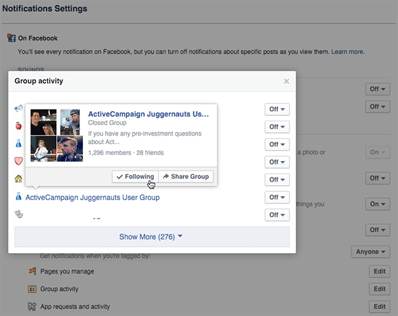 facebook group news feed settings configuration on desktop