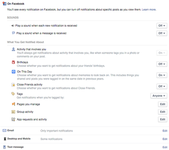 configure general notification settings for facebook profiles