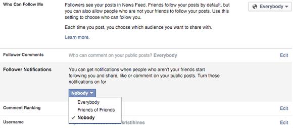 facebook follower notification settings on desktop
