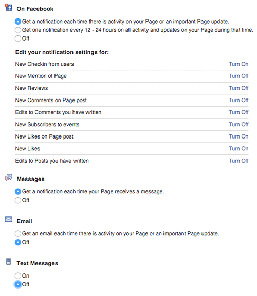 facebook pages notification settings on desktop
