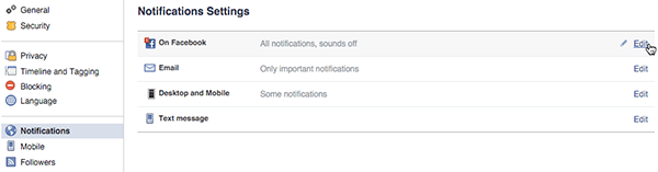 general facebook notification settings on desktop