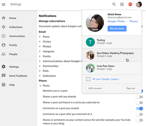 select between googleplus pages on desktop