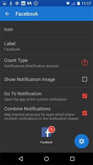 android notifyer app settings for each social network