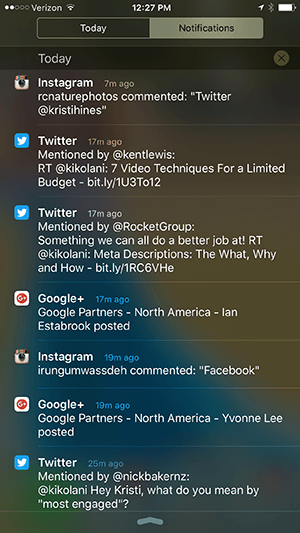 iphone notification center notifications