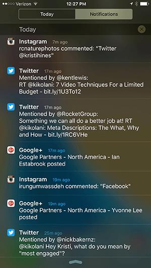 iphone notification center notifications