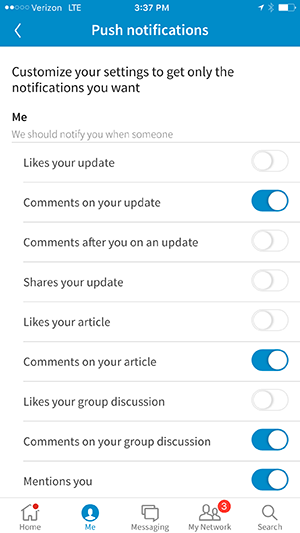 iphone linkedin app notification options