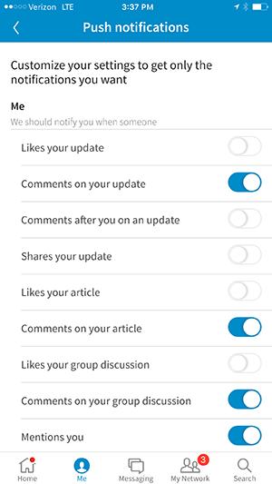 iphone linkedin app notification options