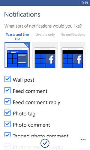 facebook app for windows notifications options