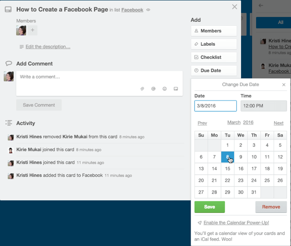 adding a due date in trello