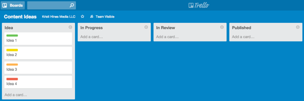 process lists on a board in trello