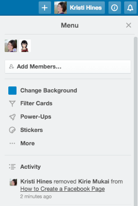 board activity in trello