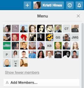 team members in trello