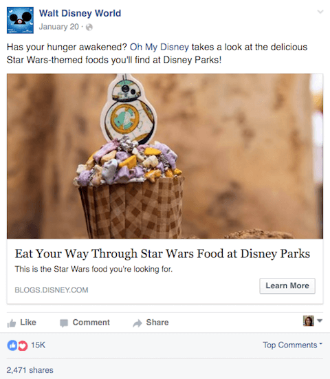walt disney world facebook post