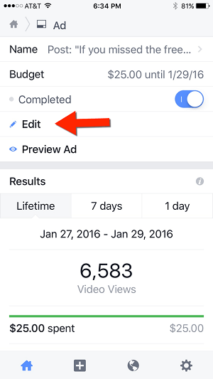 edit ad campaign in facebook pages manager app